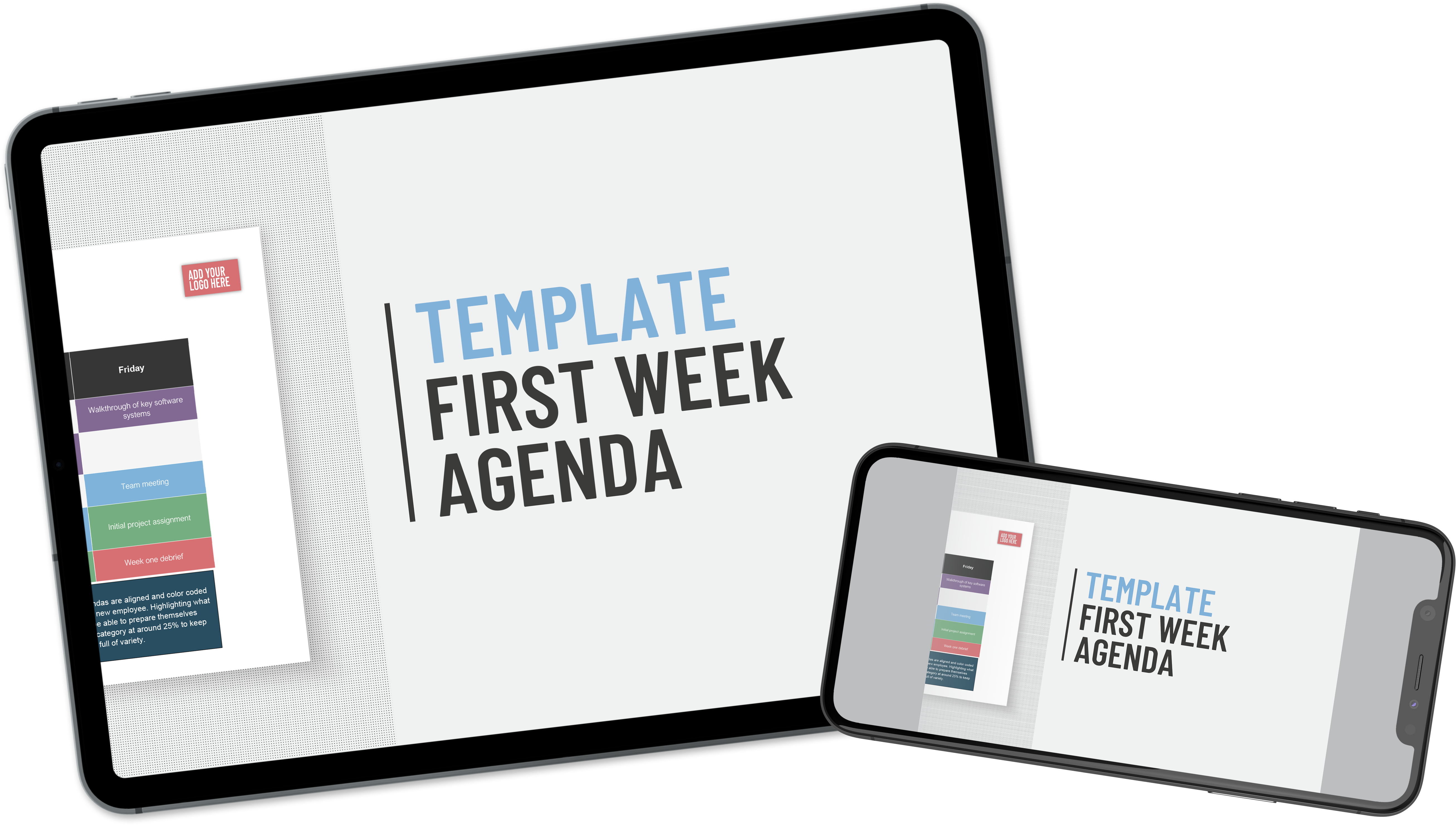 Tablet and mobile showing Applaud HR Virtual Onboarding agenda